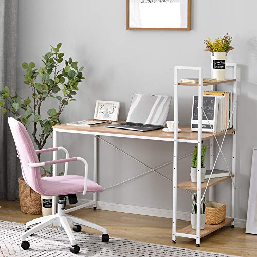 Escritorio, mesa de oficina, mesa de ordenador, mesa de trabajo con estante, mesa para oficina, diseño industrial, 120 x 60 x 74 cm (natural/blanco)