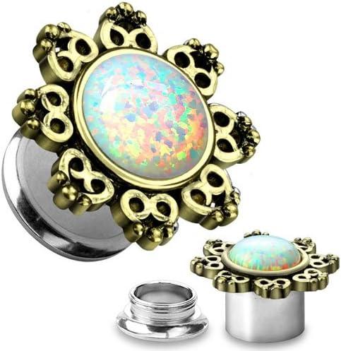 WildKlass Jewelry Lotus Flower Opal Stone 6G (4mm) Screw Fit TunnelsSold as Pairs