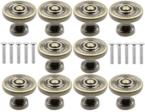 LBY 10pcs Antique Style Bronze Metal Drawer Cabinet Decorative Pull Handle Knob, Wardrobe Door Single Hole Pull, Round Knobs(Dia. 22mm/.87'') Zinc Alloy Green Bronze-Coloured