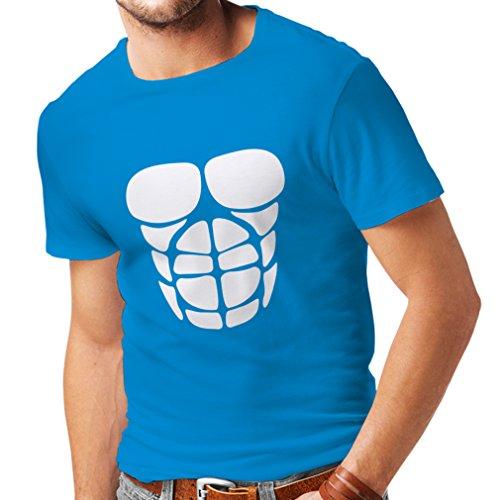 Männer T-Shirt Für Ihr Muskelwachstum - lustige Trainingshemden (X-Large Blau Weiß)
