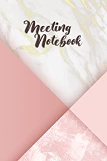 MEETING NOTEBOOK: Pink Cover Meeting Notebook, with 122 pages, 6 x 9 inches.