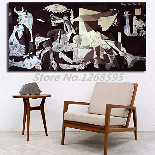 Frameloos Guernica door Pablo Picasso Canvas schilderij Print slaapkamer Home Decor moderne kunst aan de muur olieverfschilderij Poster Salon foto's <> 19.7x39.4inch