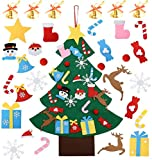 Unique Store Árbol de Navidad de Fieltro, 3ft Bricolaje árbol de Navidad de Fieltro con 32 Adornos Desmontables año niños de Pared de Puerta Decoración Colgante(95x70cm)