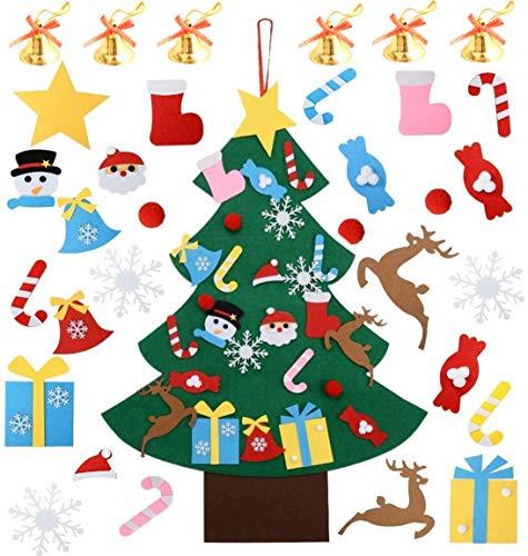 Unique'Store DIY Albero di Natale in Feltro,32 Pezzi Ornamenti Rimovibili DIY Fai-da-Te con Felt Christmas Tree Set per Bambini Natale Regali Home Porta Parete Decorazione(95x70cm)
