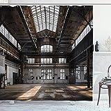 vrupi Old Building in Industrial Duschvorhang Hangar, Dilapidated Fenster of Urban Life 180,3 x 180,3 cm Waschen, wasserdichter Stoff inkl. 12 Kunststoffhaken für Wohnungsdekoration