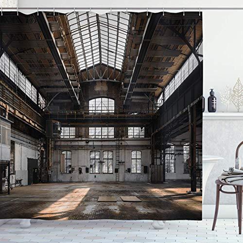 vrupi Old Building in Industrial Duschvorhang, verfallene Fenster des urbanen Lebens, 183 x 183 cm, waschbarer Stoff, inkl. 12 Kunststoffhaken für Wohnungsdekoration