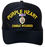 United States Purple Heart Combat Wounded Emblem Patch Hat Navy Blue Baseball Cap