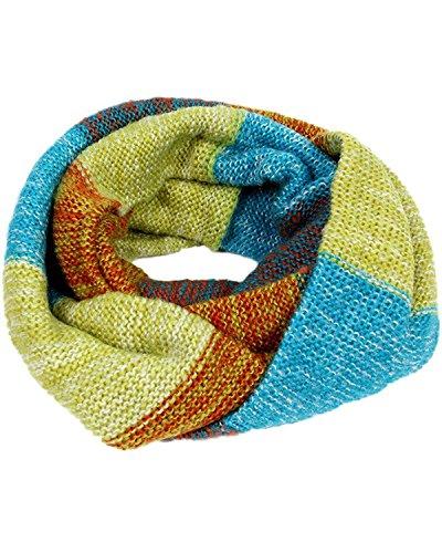 Minetom Damen Oversized Schal Regenbogen Schal Weich Mohair Farbe Patchwork Loop Schal Blau-Grün-Orange One Size