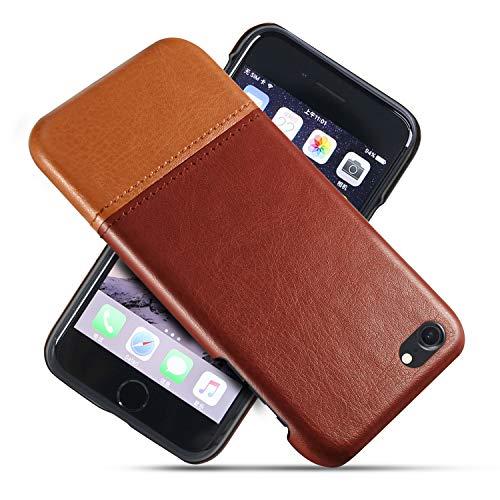 Suhctup Compatible con iPhone 6 Plus/6S Plus Funda Cuero Calidad Ultrafina Estilosa Simple Empalme Estilo Carcasa de Piel Durable Antigolpes Antideslizante Protección Caso(Marrón Marrón)