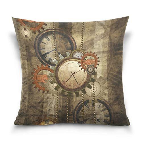 Funda de almohada decorativa cuadrada para cojín, diseño vintage de reloj Steampunk, funda de almohada de dos lados, 66 x 66 cm