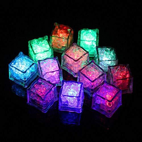 Leuchtende Eiswürfel Wiederverwendbar LED-Leucht-Eiswürfel Blitzlicht Trinken Wein Hochzeit Party Dekoration Tauch Dekorative LED Ice Cube (Set 12 Stück)