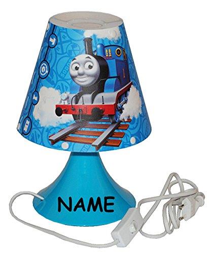 alles-meine.de GmbH Nachttischlampe Thomas die Lokomotive - incl. Name - 29 cm hoch - Tischleuchte für Kinder Kinderzimmer - Jungen Eisenbahn Lok Zug - Tischlampe Lampe Stehlampe