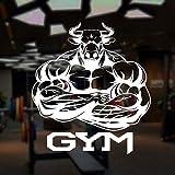 Logotipo Del Gimnasio Bull Muscles Bodybuilder Pegatinas De Pared Vinilo Decoración Del Hogar Gym Club Fitness Calcomanías Mural Autoadhesivo Extraíble, Blanco 57 * 63Cm