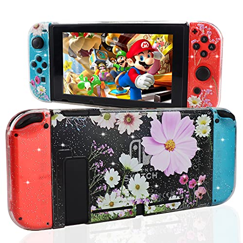 DMLNN Case for Nintendo Switch, Fit The Dock Station, Hard PC Glitter Case Compatible with Nintendo Switch, Glitter Protective Cover with Shock and Anti-Scratch Design Protective Case - Pink Flower