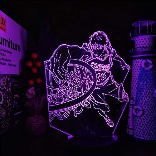 Kuroko's Basketball 3D Nachtlicht für Kinder 3D Optische Täuschungs lampe Deko Licht Weihnachtsgeburtstagsgeschenke für Jungen 3D-Licht Lampe 7 Farben Tischlampe mit USB-Stromkabel