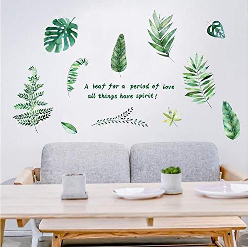 Plantas verdes nórdicas dormitorio fresco porche sala de estar TV Fondo decoración de la pared nuevas pegatinas de pared 60 * 90 CM
