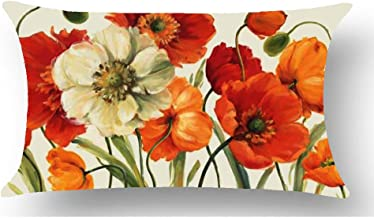WePurchase Hand Painted Oil Painting Watercolor White Orange Poppy Flowers for Mother Decoration Cotton Linen Decorative Home Sofa Living Room Throw Pillow Case Cushion Cover Rectangle 12x20 Inches