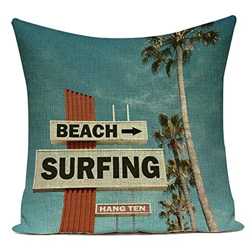 Fundas de Cojín Tabla de Surf de Playa escénica Junto al mar árbol de Coco sofá de Lino de algodón decoración del hogar Almohadas Decorativas Funda de cojín para Sala de Estar