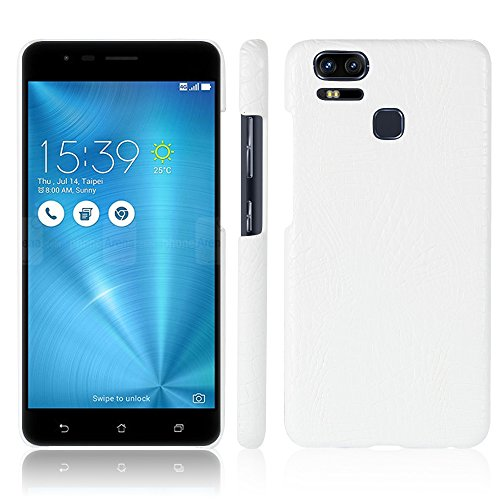 Para Asus ZenFone 3 Zoom ZE553KL capa de couro sintético com estampa de crocodilo (Branco)