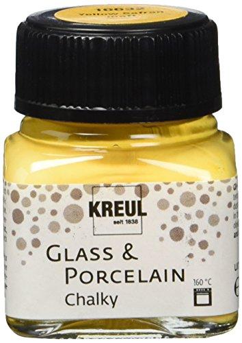Kreul 16632 - Glass & Porcelain Chalky Yellow Safran, 20 ml Glas, sanft - matte Glas- und Porzellanmalfarbe auf Wasserbasis, schnelltrocknend, deckend
