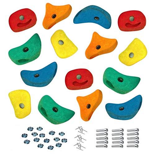 15 Stück h2i Klettersteine Klettergriffe für Kletterwand - mittel - 11,0 x 11,0 cm für Kinder und Erwachsene