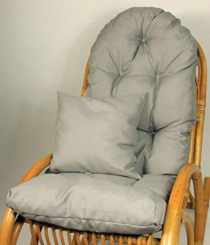 Rattani Auflage/Polster für Schaukelstuhl, Liegestuhl, Ersatzpolster Gr. 130 x 50 x 12 cm, Fb. grau + Zierkissen 40 x 40 cm