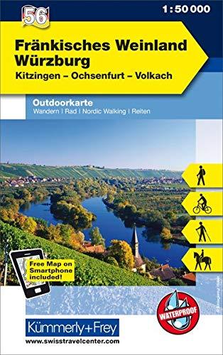 Fränkisches Weinland, Würzburg, Kitzingen, Ochsenfurt, Volkach: Nr. 56, Outdoorkarte Deutschland, 1:50 000, Mit kostenlosem Download für Smartphone (Kümmerly+Frey Outdoorkarten Deutschland)