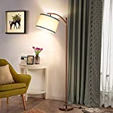LED Floor Lamp with Dimmer, Fully Dimmable Standing Lamp Modern Tall Pole Lamp with Hanging Fabric Shade and Brown Base Montage Reading Light for Living Room Bedroom, Bright 8W LED Bulb Included