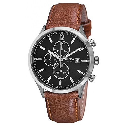 Boccia Herren Chronograph Quarz Uhr mit Leder Armband 3753-04