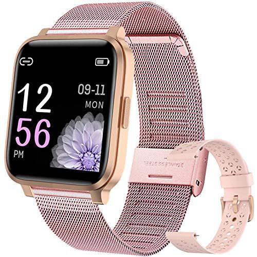 YUNFUN Smartwatch Mujer, Reloj Inteligente Táctil Completa, Pulsera Actividad Mujer IP68 con 17 Deportes, Pulsómetros, Monitor de Sueño, Seguimiento del Menstrual, Control de Musica Regalo (Rosado)