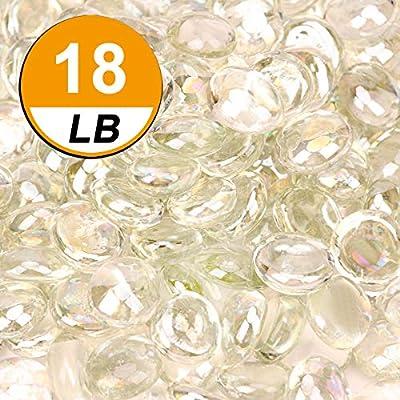 [18 Pound] Fire Glass Beads Fireglass Drops for Gas Fire Pit Fireplace Aquarium Fish Tank Decoration Crystal Luster Transparent Reflective Decorative Glass Gems Rocks Pebbles Stone (Transparent)