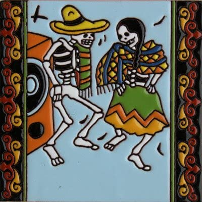 Fine Crafts & Imports 6x6 The Dancers. Day-of-The-Dead Clay