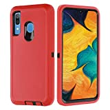 GreatCase for Samsung Galaxy A20 Case, Galaxy A20 Case Galaxy A30 Case Heavy Duty 3 Layer Durable Shockproof Non Slip Drop Protection Hard Phone Cover Case for Samsung A20/A30 6.4inch Red