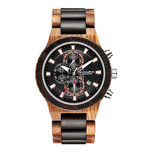 STKJ Multifunktionale leuchtende Uhr, stilvolles Holz Quarz Große Dial Männer Uhr Herz-Geschenke für Freund und Vater,C