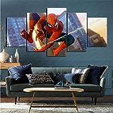 mmkow Quadro su Tela 5 Pezzi Videogioco Spiderman con Cornice per la Decorazione Domestica 50x100 cm (Senza Cornice)