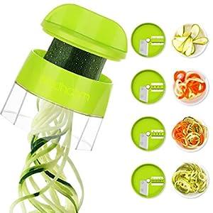 Sedhoom Spiralizzatore di Verdure 4 in 1 Affetta Verdure Affettatrice Multifunzione di Verdure a Spirale Affettaverdure Tagliaverdure con 4 Lame Rotanti Grattugia per Carote, Cetrioli, Patate, Zucca