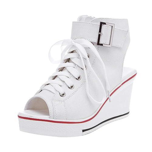 Wedge Sneakers White: Amazon.com