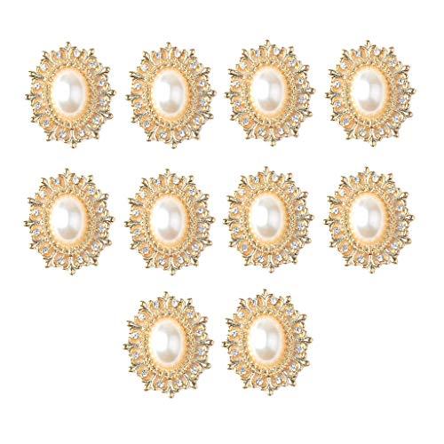 P Prettyia 10 Stück Oval Legierung Perle Kristall Knöpfe Gemischt Strass Flatback Verschönerung DIY Haarschmuck