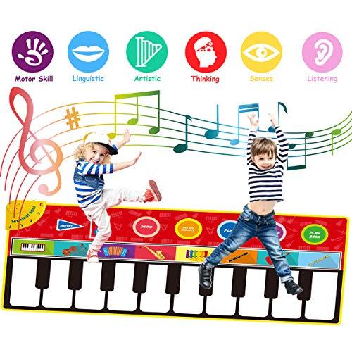 FancyWhoop Klavier Playmat große Größe (148 * 60cm) Kinder Klaviertastatur Musik Playmat Spielzeug, lustige Tanzmatte für Babys Kleinkind Jungen und Mädchen Geschenk