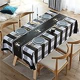 SUNFDD Rejilla Negra Patrón Geométrico Impresión Rectangular Mantel Impermeable Lavable Fácil Cuidado Mesa Cuadrada Cocina Mesa De Comedor Mesa De Centro Decoración De La Mesa 90x90cm