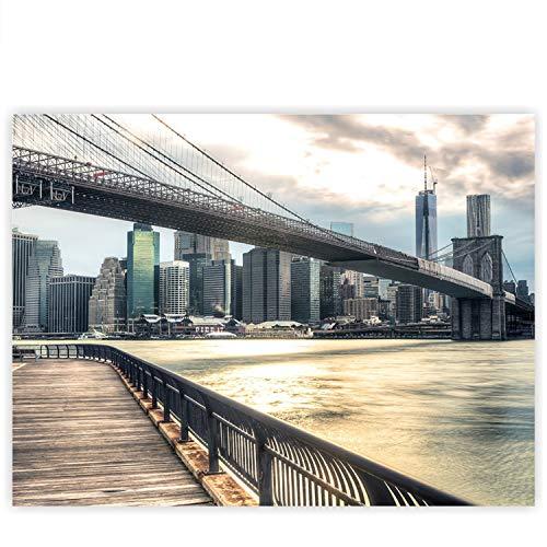 Leinwandbild 100x75 cm - Top - Wandbild XXL Kunstdruck Leinwand Bild Wanddeko Canvas - NEW YORK BROOKLYN BRIDGE SKYLINE - New York USA Skyline Sephia NYC - no. 043, Qualität Leinwand:Premium