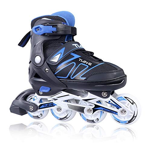 Adjustable Inline Skates for Kids and Adults with Full Light Up Wheels, Outdoor Blades Roller Skates for Girls and Boys, Men and Women Blue Size 12