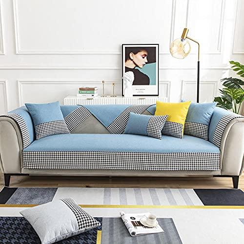 KENEL Ecke Kombi-Sofabezug Sofa Sesselschutz Baumwollwäsche-Sofakissen für alle Jahreszeiten-110 * 210 cm_Hellblau-Verkauft in stück
