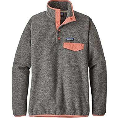 Patagonia Women's RE-Tool Snap-T Fleece Pullover (Small, Nickel w/Peak Pink)