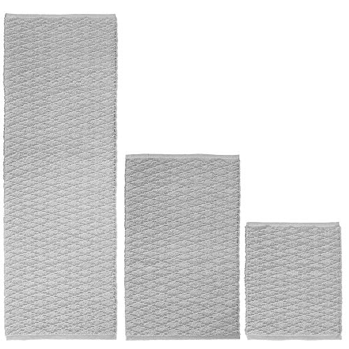 mDesign 100% Cotton Luxury Rectangular Spa Mat Rugs, Water Absorbent, Diamond Design - for Bathroom Vanity, Tub/Shower, Machine Washable - Runner, Standard & Small Rug - Pack of 3, Light Gray