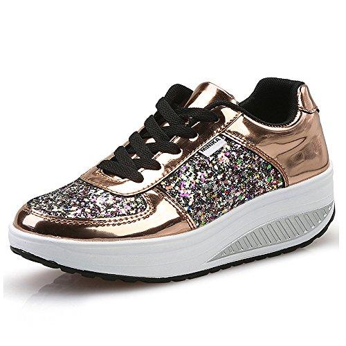 QZBAOSHU Damen Abnehmen Walkingschuhe Turnschuhe Fitness Keile Plattform Schuhe Sneakers(3 Gold,34)