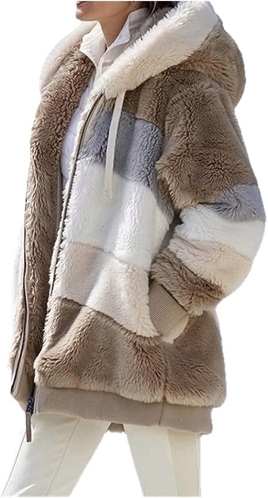 Winter Women Jacket Warm Plush Casual Loose Hooded Coat Mixed Color Patchwork Winter Outwear Faux Fur Zipper Ladies Parka Coat - brown,3XL