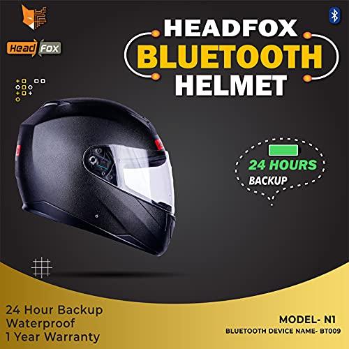 HEADFOX Edge Smart Bluetooth N1 Motorbike Helmet -Black
