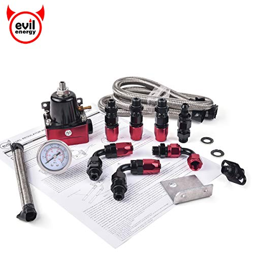 EVIL ENERGY 30-70psi Adjustable EFI Fuel Pressure Regulator Bypass Return Kit Universal with Pressure Gauge and 6AN ORB Adapter Aluminium Black&Red