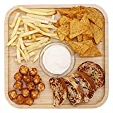 HOKIPO Bamboo Wooden Square Tray for Serving Snacks   Platters Serving Tray   Appetizer Plate, 29.5 cm, Pack of 1